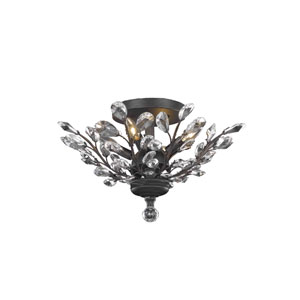 Orchid Dark Bronze 20-Inch Four-Light Flush Mount with Clear Elegant Cut Crystal