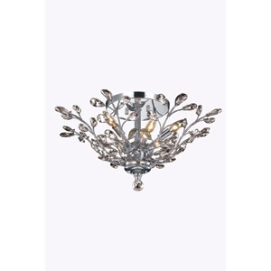 Orchid Chrome 27-Inch Six-Light Flush Mount with Clear Elegant Cut Crystal