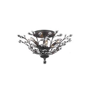 Orchid Dark Bronze 27-Inch Six-Light Flush Mount with Clear Elegant Cut Crystal