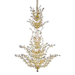 Orchid Gold 25-Light Chandelier with Clear Elegant Cut Crystal
