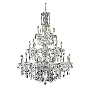 St. Francis Chrome 36-Inch 24-Light Chandelier with Elegant Cut Crystal