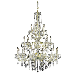 St. Francis Gold 36-Inch 24-Light Chandelier with Spectra Swarovski Crystal