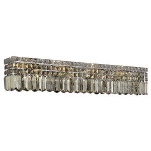 Maxime Chrome 36-Inch Eight-Light Wall Sconce with Smoky Elements Crystal