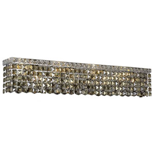 Maxime Chrome 36-Inch Eight-Light Wall Sconce with Smoky Royal Cut Crystal