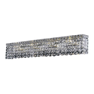 Maxime Chrome 36-Inch Eight-Light Wall Sconce with Clear Royal Cut Crystal