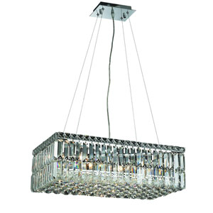 Maxime Chrome with Clear Spectra Crystal Six-Light Island Chandelier