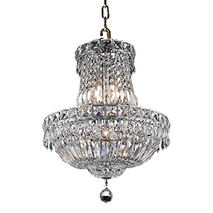 Tranquil Chrome 14-Inch Six-Light Pendant with Elegant Cut Crystal