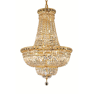 Tranquil Gold 22-Inch 22-Light Chandelier with Elegant Cut Crystal