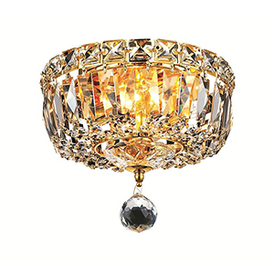 Tranquil Gold Eight-Inch Two-Light Flush Mount with Royal Cut Crystal