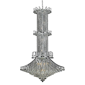Toureg Chrome 44-Inch 20-Light Chandelier with Royal Cut Crystal