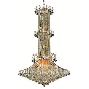 Toureg Gold 44-Inch 20-Light Chandelier with Elegant Cut Crystal