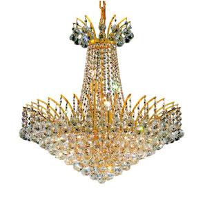 Victoria Gold 11-Light Chandelier with Clear Elegant Cut Crystal