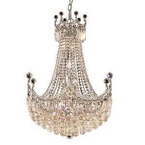 Corona Chrome 24-Inch 18-Light Chandelier with Elegant Cut Crystal