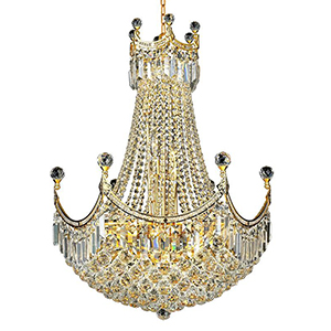 Corona Gold 24-Inch 18-Light Chandelier with Royal Cut Crystal