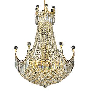 Corona Gold 24-Inch 18-Light Chandelier with Swarovski Crystal
