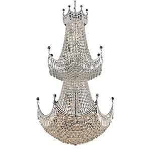 Corona Chrome 36-Inch 36-Light Chandelier with Elegant Cut Crystal