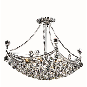 Corona Chrome 14-Inch Six-Light Chandelier with Elegant Cut Crystal