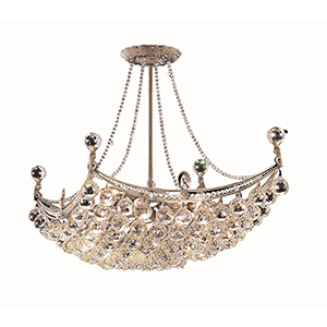Corona Chrome 16-Inch Eight-Light Chandelier with Royal Cut Crystal