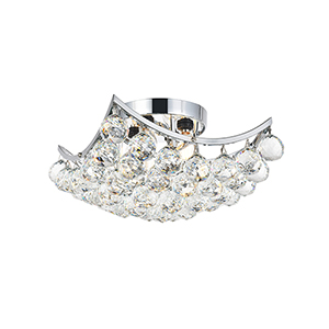 Corona Chrome 12-Inch Four-Light Flush Mount with Royal Cut Crystal