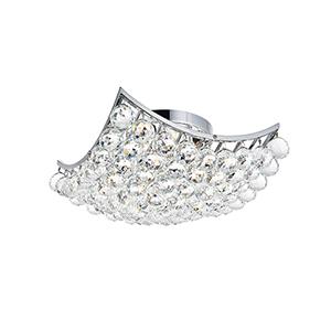 Corona Chrome 14-Inch Four-Light Flush Mount with Swarovski Crystal