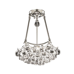 Corona Chrome 14-Inch Three-Light Pendant with Elegant Cut Crystal
