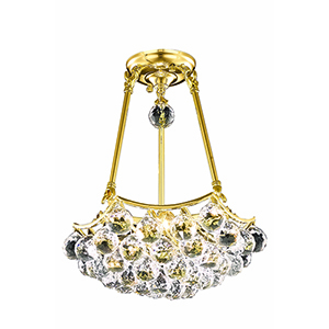 Corona Gold 14-Inch Three-Light Pendant with Elegant Cut Crystal
