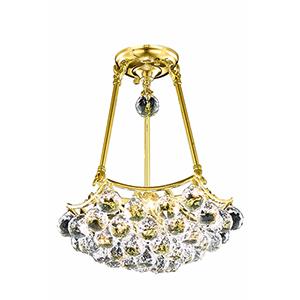 Corona Gold 14-Inch Three-Light Pendant with Royal Cut Crystal