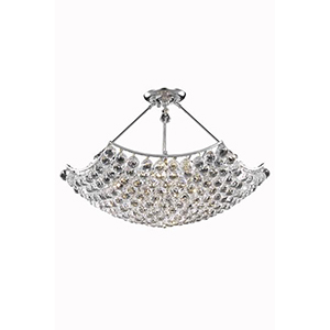 Corona Chrome 30-Inch Eight-Light Chandelier with Swarovski Crystal