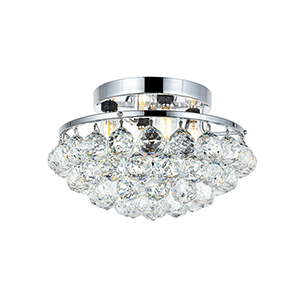 Corona Chrome 14-Inch Four-Light Round Flush Mount with Royal Cut Crystal