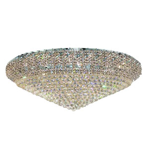 Belenus Chrome 48-Inch 36-Light Flush Mount with Clear Royal Cut Crystal