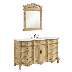 Danville Antique Beige 60-Inch Single Bathroom Vanity Sink Set