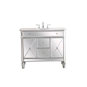 Camille Antique Silver 42-Inch Vanity Sink Set