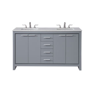 Filipo Gray 60-Inch Vanity Sink Set