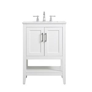 Aubrey White 24-Inch Vanity Sink Set