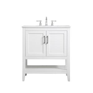 Aubrey White 30-Inch Vanity Sink Set