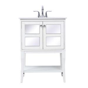 Mason White 24-Inch Single Bathroom Mirrored Vanity Sink Set