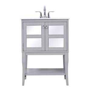 Mason Gray 25-Inch Single Bathroom Mirrored Vanity Sink Set