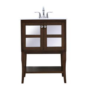 Mason Antique Coffee 24-Inch Single Bathroom Mirrored Vanity Sink Set