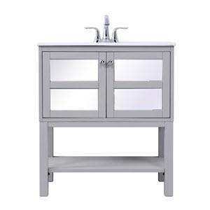 Mason Gray 30-Inch Mirrored Vanity Sink Set