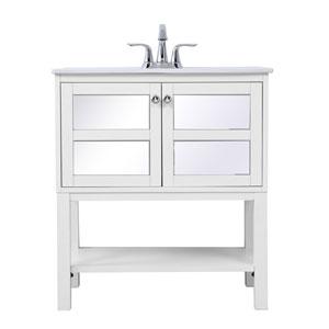 Mason White 30-Inch Mirrored Vanity Sink Set
