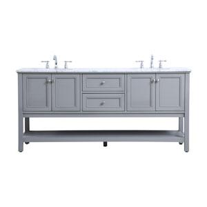 Metropolis Gray 72-Inch Vanity Sink Set