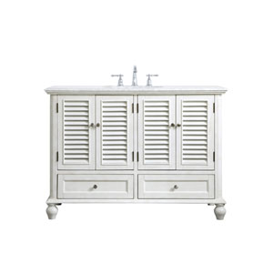 Rhodes Antique White 48-Inch Vanity Sink Set