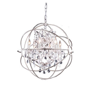 Geneva Polished Nickel Twenty-Five-Inch Pendant with Clear Crystals