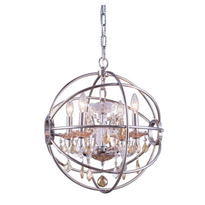 Geneva Polished Nickel Seventeen-Inch Pendant with Golden Teak Crystals