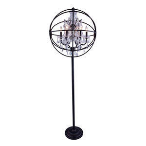 Geneva Dark Bronze Twenty-Four-Inch Floor Lamp with Clear Crystals