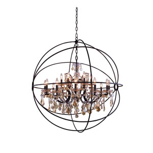 Geneva Dark Bronze Forty-Three-Inch Pendant with Golden Teak Crystals