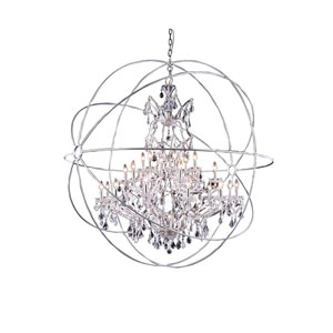 Geneva Polished Nickel Sixty-Inch Pendant with Clear Crystals