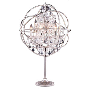 Geneva Polished Nickel Twenty-Two-Inch Table Lamp with Clear Crystals