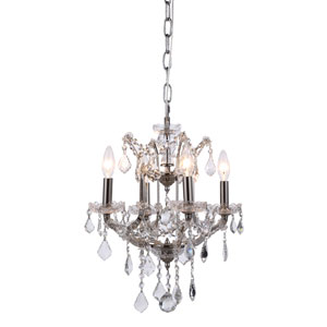 Elena Polished Nickel Four-Light Mini Chandelier with Clear Crystals