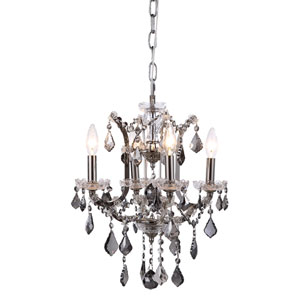 Elena Polished Nickel Four-Light Mini Chandelier with Silver Crystals